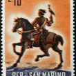 Stock Photo: SAN MARINO - CIRC1961: stamp printed in SMarino dedicated to hunting, shows Mounted falconer, circ1961