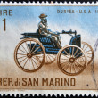 "Stock Photo: SAN MARINO - CIRC1962: stamp printed in SMarino shows Old auto with inscription ""Duryea, USA, 1892"", circ1962"