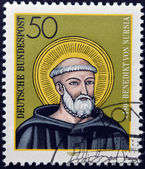 GERMANY - CIRCA 1980: a stamp printed in Germany shows St. Benedict of Nursia, circa 1980 — Stock Photo