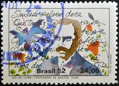 BRAZIL - CIRCA 1982: A stamp printed in Brazil dedicated to Book Day, shows Bastos Tigre, circa 1982 — Stock Photo