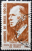 BRAZIL - CIRCA 1964: A stamp printed in Brazil shows Charles de Gaulle, President of France, circa 1964 — Stock Photo