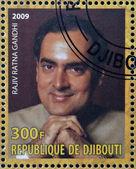 DJIBOUTY - CIRCA 2009: A stamp printed in Djibouty shows Rajiv Ratna Gandhi, circa 2009 — Stock Photo