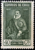 CHILE - CIRCA 1941: A stamp printed in Chile shows the conqueror Pedro de Valdivia, circa 1941 — Stock Photo