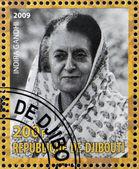 DJIBOUTY - CIRCA 2009: A stamp printed in Djibouty shows Indira Gandhi, circa 2009 — Stock Photo