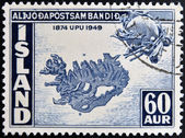 ICELAND - CIRCA 1949: A stamp printed in Iceland shows map of Iceland, circa 1949 — Stock Photo