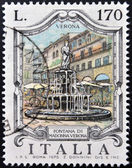 ITALY - CIRCA 1976: a stamp printed in Italy shows Madonna Fountain, Verona, circa 1976 — Stock Photo