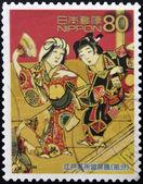 япония - около 2003: марку, напечатанную в японии показывает рисунок эдо экран, около 2003 года — Стоковое фото