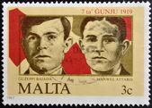 MALTA - CIRCA 1985: A stamp printed in Malta shows Guzeppi Bajada and Manwell Attard, circa 1985 — Stockfoto