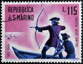 SAN MARINO - CIRCA 1961: A stamp printed in San Marino dedicated to hunting, shows hunt ducks, circa 1961 — Stock Photo