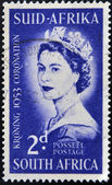 SOUTH AFRICA - CIRCA 1953: A stamp printed in South Africa celebrating the coronation of Queen Elizabeth II, circa 1953 — Stock Photo