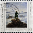GERMANY - CIRCA 2011: A stamp printed in Germany shows a picture of Wanderer above the Sea of Fog by Caspar David Friedrich, circa 2011  — Stock Photo