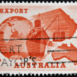 Stock Photo: AUSTRALI- CIRC1963: stamp printed in Australidedicated to Importance of exports to Australieconomy shows Globe, Ship, Plane and Map of Australia, circ1963