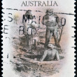 AUSTRALIA - CIRCA 1981: A stamp printed in Australia dedicated to the gold rush era, shows license inspected, circa 1981 — Stock Photo #26198429