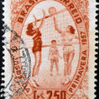 BRAZIL - CIRCA 1957: A stamp printed in Brazil dedicated to Spring games, shows playing volleyball, circa 1957 — Stock Photo
