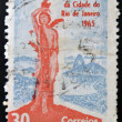 BRAZIL - CIRC1965: Stamp printed in Brazil dedicated to IV Centenary of City of Rio de Janeiro, shows statue of St. Sebastian, patron saint of Rio de Janeiro, on square Luis Camoes — Stock Photo #26198523