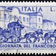 ITALY - CIRC1969: stamp printed in Italy shows Sondrio-Tirano Stagecoach, 1903, circ1969 — стоковое фото #26198841
