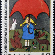 ITALY - CIRCA 1976: stamp printed in Italy shows Girl and animals by children drawing, circa 1976 — Stock Photo