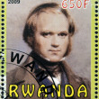Stock Photo: RWAND- CIRC2009: stamp printed in Rwanddedicated to Charles Darwin, circ2009