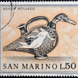 Stock Photo: SAN MARINO - CIRC1971: stamp printed in SMarino dedicated to ancient Etruscans, shows Duck-shaped jug, circ1971