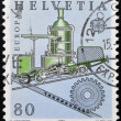 SWITZERLAND - CIRCA 1983: stamp printed in Switzerland shows Cog railway, circa 1983 - Stok fotoğraf