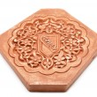 Arabic decoration, plastering Alhambra style with Nazari shield — Stock Photo