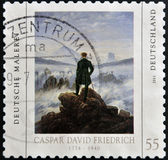 "GERMANY - CIRCA 2011: A stamp printed in Germany shows a picture of ""Wanderer above the Sea of Fog"" by Caspar David Friedrich, circa 2011 — Stock Photo"