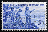 AUSTRALIA - CIRCA 1963: A stamp printed in Australia shows Explorers Blaxland, Lawson and Wentworth Looking West from Mt. York, circa 1963 — Stock Photo