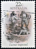 AUSTRALIA - CIRCA 1981: A stamp printed in Australia dedicated to the gold rush era, shows license inspected, circa 1981 — Stock Photo