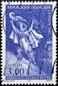 FRANCE - CIRCA 1997: A stamp printed in France shows Puss in Boots, Perrault tale, circa 1997 — Foto Stock