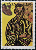 GUAYANA - CIRCA 1990: A stamp printed in Guyana shows Joan Miro Portrait of Enric Cristofol Ricart, MOMA, NYC, circa 1990 — Stock fotografie