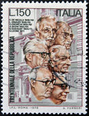 ITALY - CIRCA 1976: stamp printed in Italy shows Italian presidents, circa 1976 — Stock Photo