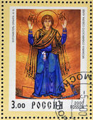 RUSSIA - 2000: Stamp printed in Russia dedicated to Christianity 2000 years, shows Our Lady Oranta mosaic, circa 2000 — Stock Photo