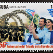 CUB- CIRC2009: stamp printed in cubdedicated to 50 anniversary of triumph of revolution, shows program of battle of ideas, circ2009 — Stock Photo #26375343