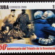 CUB- CIRC2009: stamp printed in cubdedicated to 50 anniversary of triumph of revolution, shows anniversary of demise of apartheid, embrace between Fidel and Mandela, circ2009 — Stock Photo #26375383