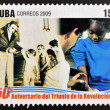CUB- CIRC2009: stamp printed in cubdedicated to 50 anniversary of triumph of revolution, shows 205 anniversary of vaccination in Cuba, circ2009 — Stock Photo #26375667