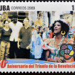 CUBA - CIRCA 2009: A stamp printed in cuba dedicated to 50 anniversary of the triumph of the revolution, shows global festival, youth and students, circa 2009 — Stock Photo #26375779