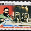 CUBA - CIRCA 2009: A stamp printed in cuba dedicated to 50 anniversary of the triumph of the revolution, shows Constitution of the Communist Party with Fidel Castro, circa 2009 — Stock Photo #26375791