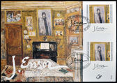 """BELGIUM AND ISRAEL - CIRCA 1999: A joint edition Belgium and Israel shows the work """"My Favorite Room"""" by James Ensor, circa 1999 — Stock Photo"""