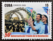CUBA - CIRCA 2009: A stamp printed in cuba dedicated to 50 anniversary of the triumph of the revolution, shows program of the battle of ideas, circa 2009 — Stock Photo