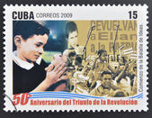 CUBA - CIRCA 2009: A stamp printed in cuba dedicated to 50 anniversary of the triumph of the revolution, shows beginning of the battle of ideas, circa 2009 — Stock Photo