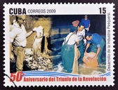 CUBA - CIRCA 2009: A stamp printed in cuba dedicated to 50 anniversary of the triumph of the revolution, shows Development of the fishing industry, circa 2009 — Stock Photo