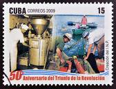 Kuba - circa 2009: eine Briefmarke gedruckt in Kuba gewidmet 50 Jahrestag des Sieges der Revolution, zeigt die Erstellung des nationalen Fischerei Institute, circa 2009 — Stockfoto