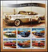 CUBA - CIRCA 2002: stamps printed in Cuba shows retro car, circa 2002 — Stock Photo