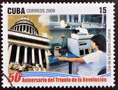 CUBA - CIRCA 2009: A stamp printed in cuba dedicated to 50 anniversary of the triumph of the revolution, shows Cuban Science Day, circa 2009 — Stock Photo