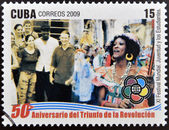CUBA - CIRCA 2009: A stamp printed in cuba dedicated to 50 anniversary of the triumph of the revolution, shows global festival, youth and students, circa 2009 — Stock Photo