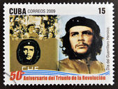 CUBA - CIRCA 2009: A stamp printed in cuba dedicated to 50 anniversary of the triumph of the revolution, shows Day of the Heroic Guerrilla, Che Guevara, circa 2009 — Stock Photo