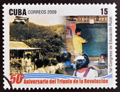 CUBA - CIRCA 2009: A stamp printed in cuba dedicated to 50 anniversary of the triumph of the revolution, shows first congress of rural education, circa 2009 — Stock Photo