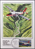 PAPUA NEW GUINEA - CIRCA 1987: A stamp printed in Papua shows A DHC Twin Otter in flight over of highlands of Papua New Guinea, circa 1987 — Stock Photo