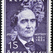 AUSTRIA - CIRCA 1962: stamp printed in Austria shows Johann Nestroy, circa 1962 — Stock Photo