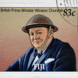 FIJI - CIRCA 2005: A stamp printed in Fiji shows British Prime Minister Winston Churchill, circa 2005 — Stock fotografie